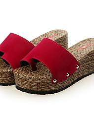 Sandalias ( Negro/Rojo Plataforma/Anillo del dedo del pie - Tacón Cuña - Ante Sintético - para MUJERES