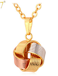 U7® Unisex Platinum/18K Real Gold/Rose Gold Multi-Tone Gold Plated Fancy Ball Charms Pendant Necklace
