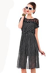 Women's Polka Dots Chiffon Swing Dress