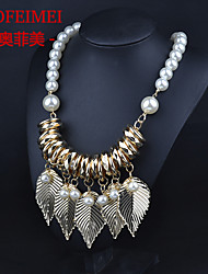 New European and American fashion jewelry pearl tassel golden leaves money necklace Ms. Spring models