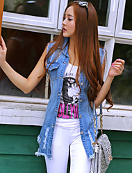 Women's Fashion Tassel Denim Long Vest