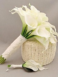 Fleurs de mariage Rond Bouquets Mariage Polyester / Satin / Dentelle / Perle / Strass Env.24cm