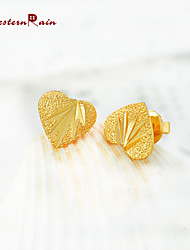 WesternRain Women 2015 New Coming 24K Gold Stud Earrings Women Fashion Cheap Lovely Heart Gold Plated Earrings