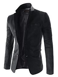 Men's Work Simple Spring / Fall Blazer,Solid Notch Lapel Long Sleeve Blue / Beige / Black PU