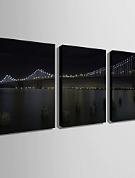 E-HOME® Stretched LED Canvas Print Art Bridge LED Flashing Optical Fiber Print Set of 3