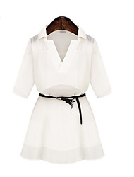 MENGFEILU®Women's Half-sleeve Lapal Patchwork Chiffon Dresses