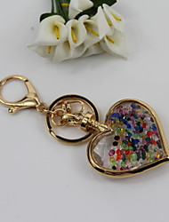 Fashion Unisex Alloy/Crystal Heart Pendant Keychains