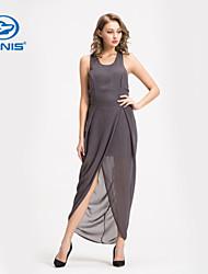 CANIS@Sexy Women's Dark Grey Sleeveless Backless Summer Beach Dress