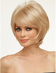 Fluffy High Quality Capless Short Wavy Mono Top Human Hair Wigs Six Colors to Choose