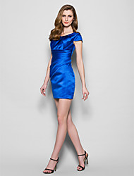 Vestido de Madrina - Azul Real Corte Recto Corto - Manga Corta Satén