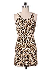 Women's Leopard Print Cutout Waist Sleeveless Mini Dress