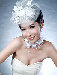 Women Satin/Net Flowers With Imitation Pearl Wedding/Party Headpiece&Neck Ring Set