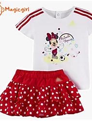 Girl's Summer Short Sleeve Minnie Cartoon T-shirts + Dot Cake Skirt Sports Casual Twinsets(Cotton + Polyester)