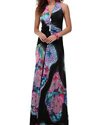 Women's  Summer Print Flower With Crystal Beach Maxi Dress