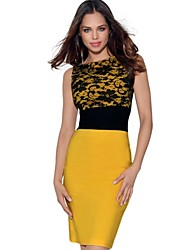 Missmay Women's Celeb Yellow Contrast Lace Cocktail Party Bodycon Dress