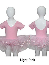 Light Pink Cotton/Lycra Short Sleeve Leotards with Tulle Skirts for Dance for Ladies and Girls