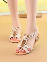 spring shoes Women's Shoes Black/Almond Flat Heel 0-3cm Sandals (PU)