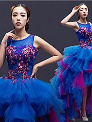Formal Evening Dress - Royal Blue Plus Sizes / Petite A-line Jewel Asymmetrical Tulle