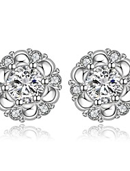 lureme® Simple Style Silver Plated Flower Shaped with Zircon Stud Earrings