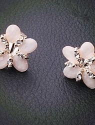 Fashion Pink Alloy flower earring for Women, Weddding Hair Accessories with Rhinestones for ladies