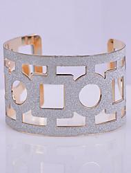 D Exceed Women's Fashion Cuff Bracelet Geometric Shape Hollow Out Design Personality Grind arenaceous Wide Bracelets