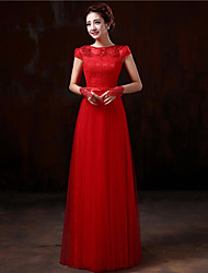 Formal Evening Dress - Plus Size Sheath/Column Bateau Floor-length Lace