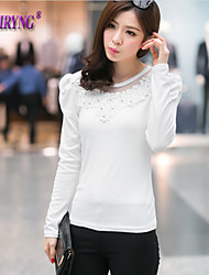 Women's Round collar white gauze of nail bead fashion long-sleeved T-shirt