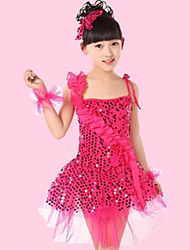 Shall We Latin Dance Performance Dresses Children Polyester/Tulle Sequins Flowers Dress(More Colors) Kids Dance Costumes