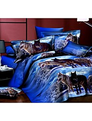 Bedtoppings Comforter Duvet Quilt Cover 4pcs Set Queen Size Flat Sheet Pillowcase 3D Random Pattern Prints Microfiber Fabric