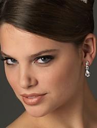 Damen Ohrring Silber Strass Drop Earrings
