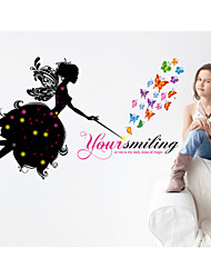 Wall Stickers Wall Decals,Butterfly Princess PVC Wall Stickers
