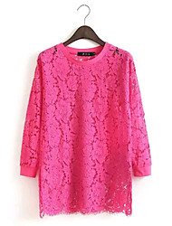 Women's Europe Fashion Sexy/Casual/Lace Inelastic Long Sleeve Long Blouse Top (Lace)