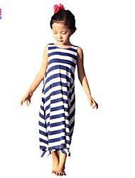 Little Kids Girls Baby Children Summer Striped Beach 3-7 Years Long Dress Clothing