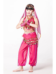 Belly Dance Outfits Children's Performance Chiffon/Sequined Beading/Coins/Sequins 6 Pieces Fuchsia/Gold/Red/turquoise Kids Dance Costumes