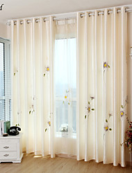 (One Panle) Hand-Painted Flowers Pearl Luster Fabrics  Lined Curtain