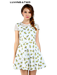Women's Casual/Print/Cute/Party Micro-elastic Short Sleeve Above Knee Dress (Polyester) Luvingtwo Hot Sale