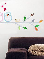 Wall Stickers Wall Decals, Cartoon Owls Color Tree PVC Wall Stickers