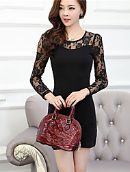 Women's Sexy/Casual/Lace Round Long Sleeve Dresses (Cotton Blend)