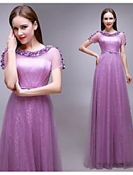 Formal Evening Dress - Lilac Plus Sizes Sheath/Column Bateau Floor-length Lace / Tulle