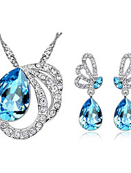 Weiyinyuan 925 Silver Austrian Crystal Pendant Earrings Suits(Including Chain)