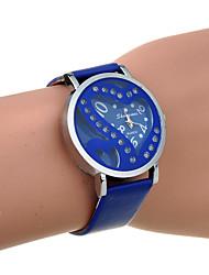 горный хрусталь двойного сердца женщин выдалбливают пу кварцевые часы (ассорти цветов)