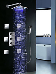 "Triple Handle Thermostatic Shower Valve Brass 8"" LED Rain Shower Head Spa Body Massage Spray Jets"