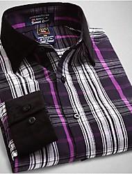 U&Shark New Hot! Men's 100% Cotton San Carlo Long Sleeve Shirt with Violet Black White Check/CSR003