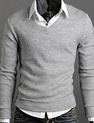 Pullover Uomo Casual/Da ufficio/Formale/Attività sportive Tinta unita Standard Manica lunga Lavorato a mano