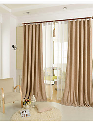 One Panel Coffee Solid Linen / Cotton Blend Panel Curtain