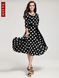 Yalun™ New Fashion Women' Slim Three-Quarter Sleeve Classic Fashion Round Neck Dress
