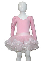 Light Pink Cotton/Lycra Long Sleeve Leotard with Tutus Skirts for Ladies and Gilrs