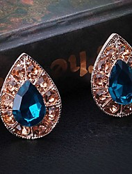 Fashion Blue Alloy Heart Earring for Women, Weddding Hair Accessories with Rhinestones for ladies