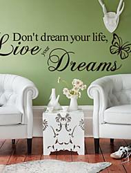 pared calcomanías pegatinas de pared, estilo viven sus sueños las mariposas Inglés proverbios pegatinas de pared de pvc