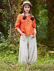 De las mujeres Pantalones Hasta la Bota - Vintage Rígido - Algodón